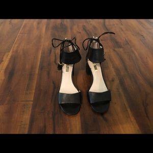 Leather black block heels